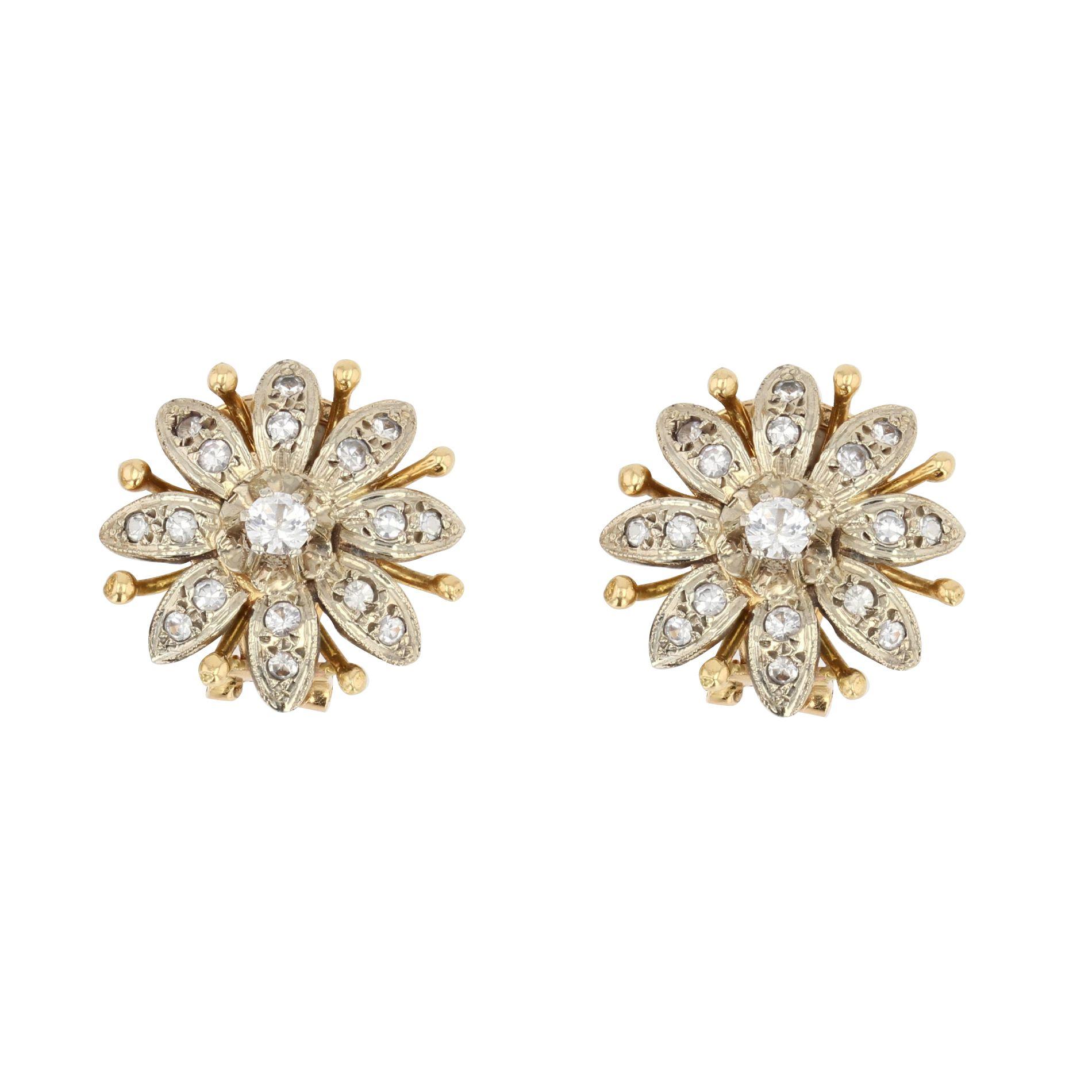 Clips d\'oreilles vintages diamants fleurs