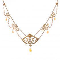 Collier ancien art nouveau opales et diamant