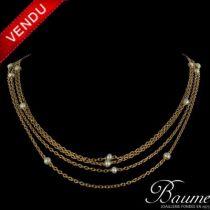 Collier ancien chaînes or jaune et perles fines