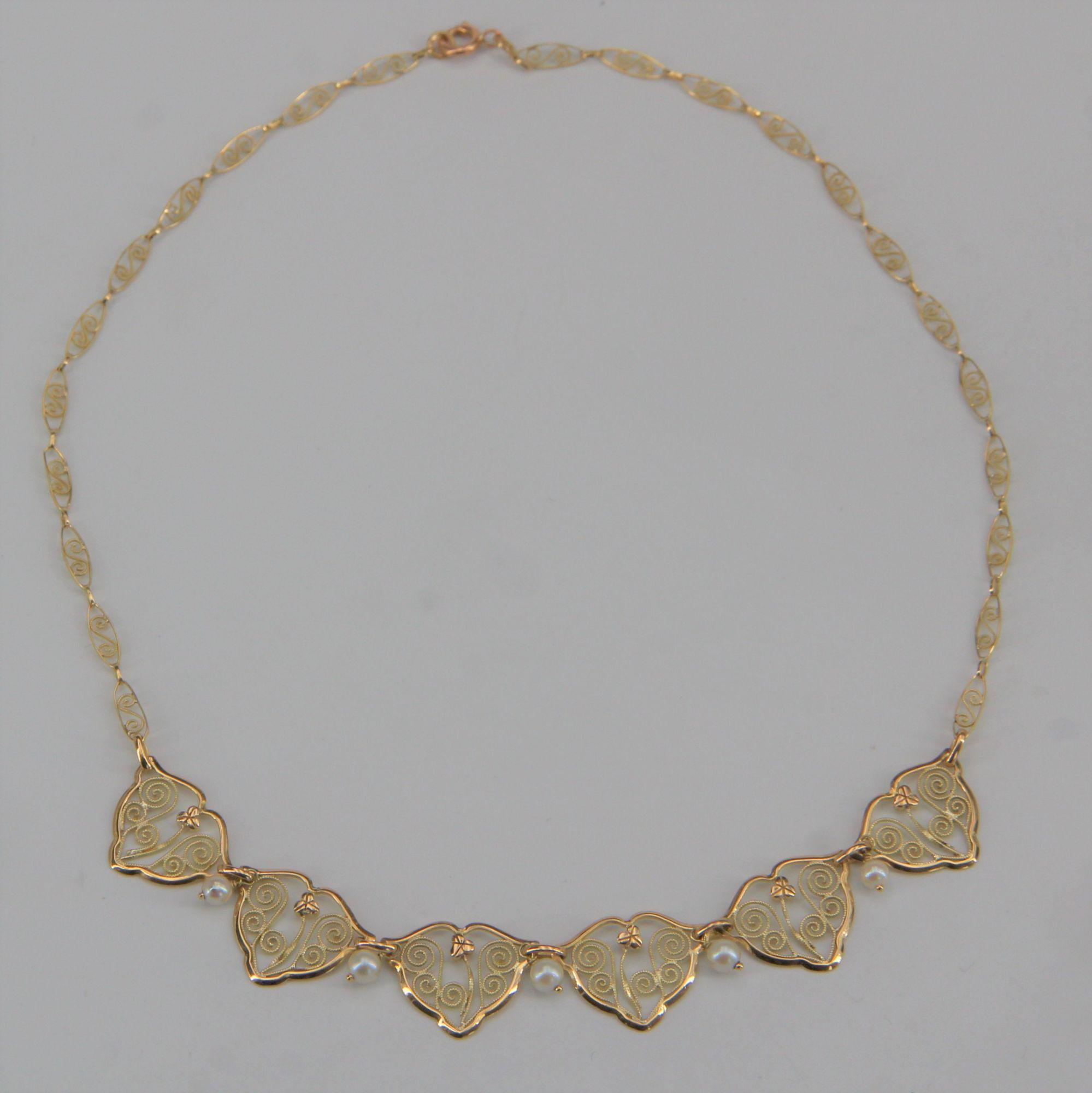 Collier ancien draperie en or et perles de culture