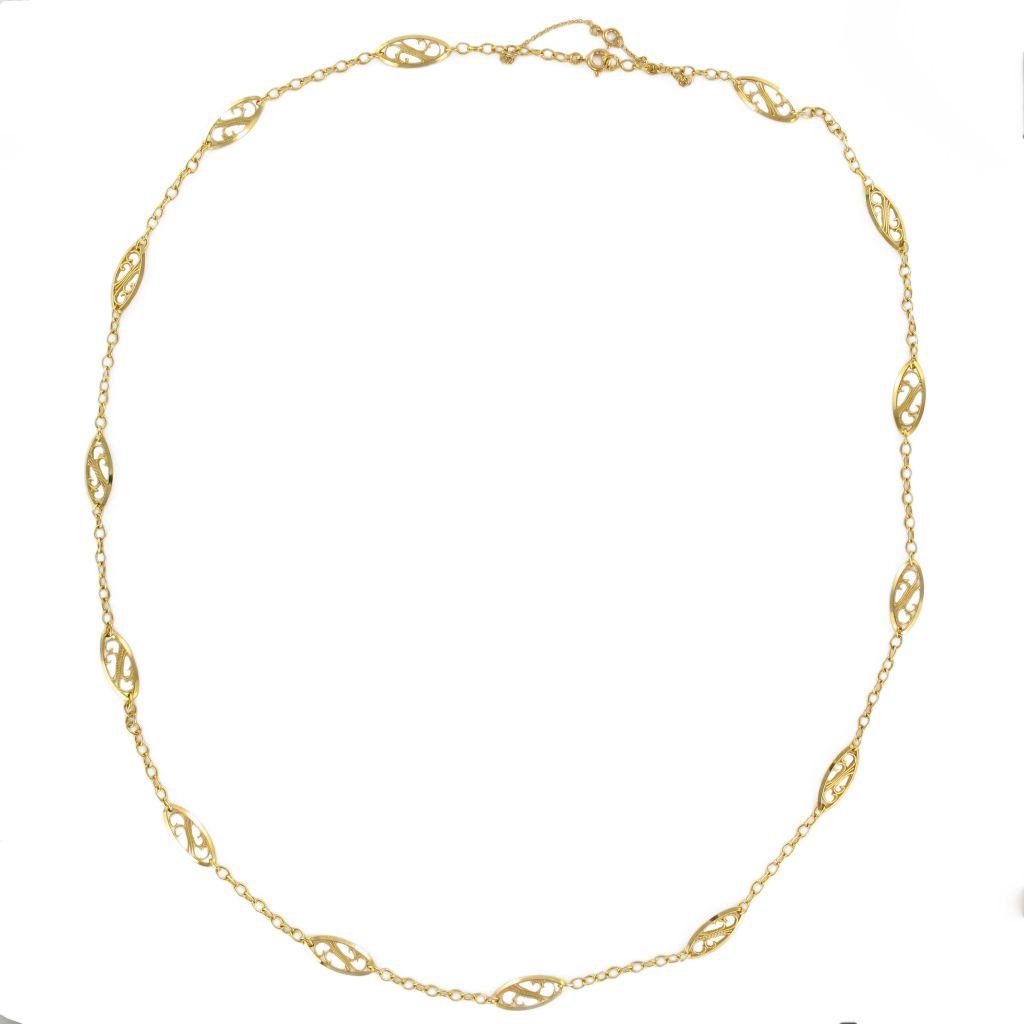 Collier ancien en or jaune maillons filigranés
