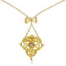 Collier ancien motif or ajouré diamant perle fine