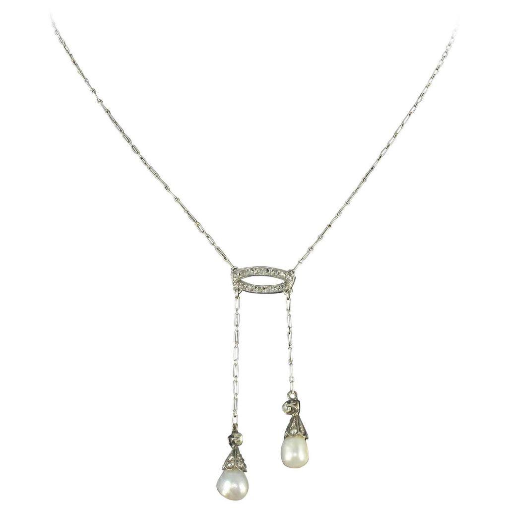 Collier ancien négligé en platine perles fines et diamants