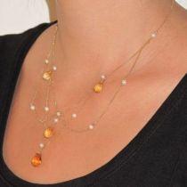 Collier citrines et perles