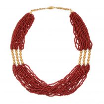 Collier corail et or