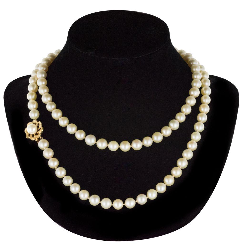 Collier de perles de culture et son fermoir or
