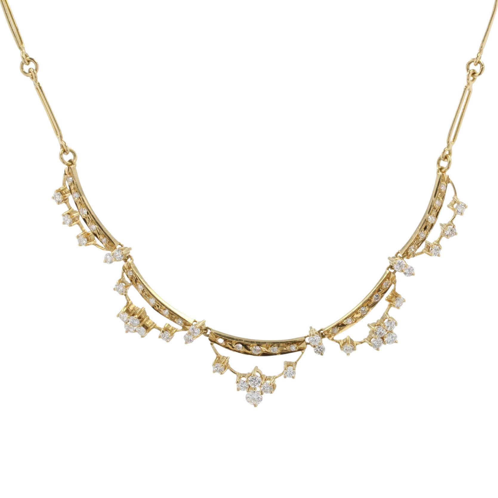 Collier diamants et or jaune collerette