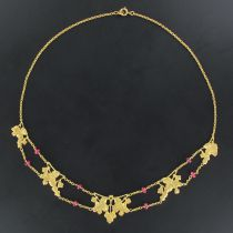Collier draperie ancien or et rubis