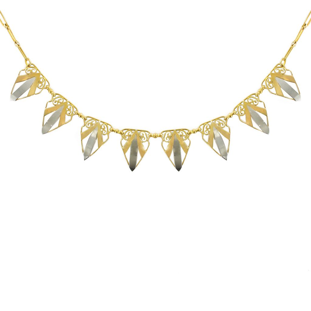 Collier draperie ancienne or jaune et or blanc
