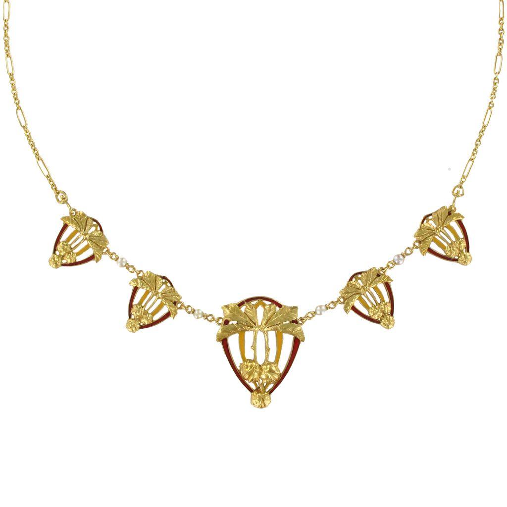 Collier draperie Art Nouveau Or Email et Perles fines