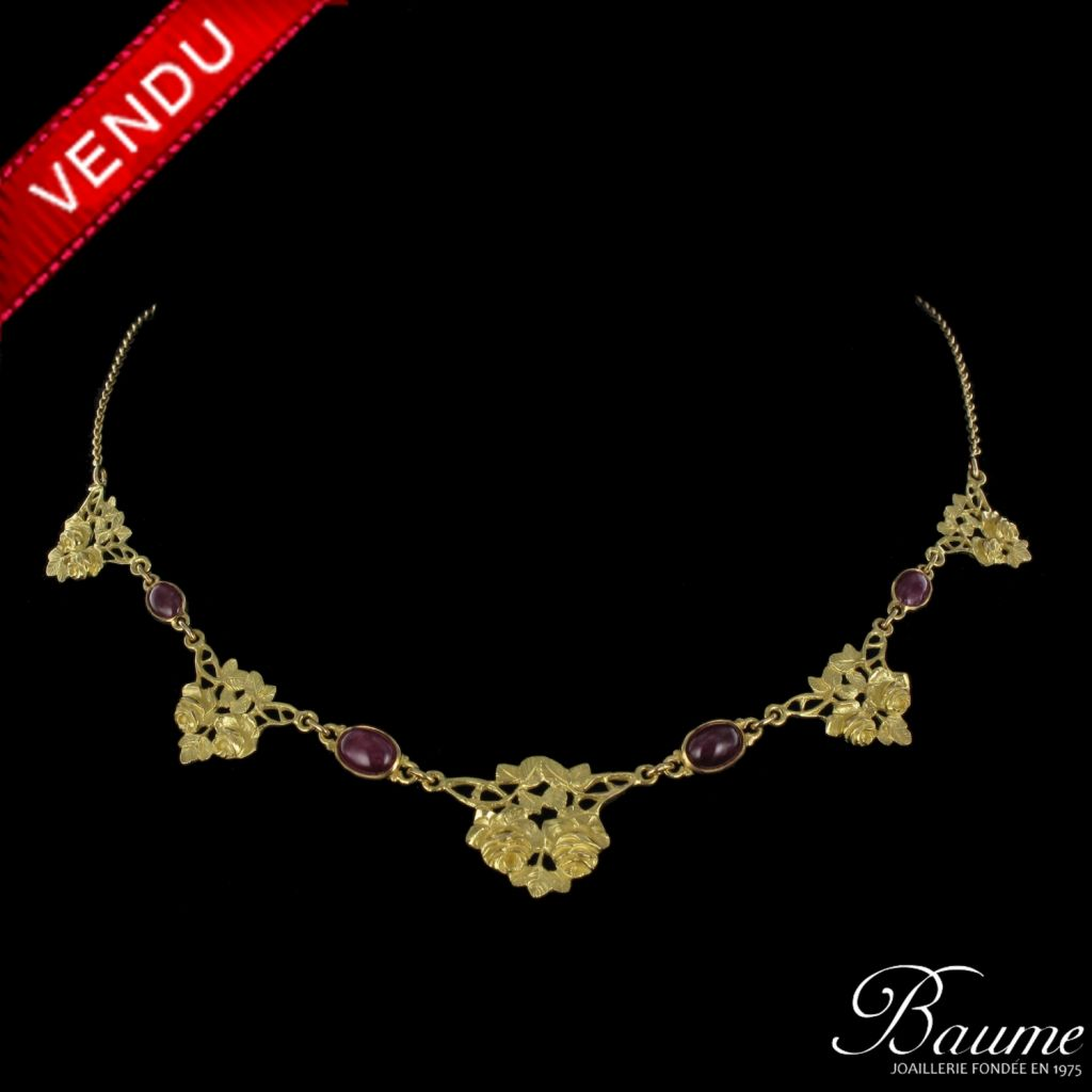 Collier draperie rubis et or
