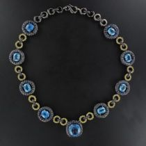 Collier en argent noirci topazes et saphirs bleus et jaunes