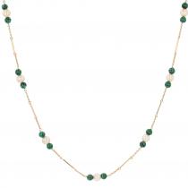 Collier long en or, perles de cultures et perles de malachite