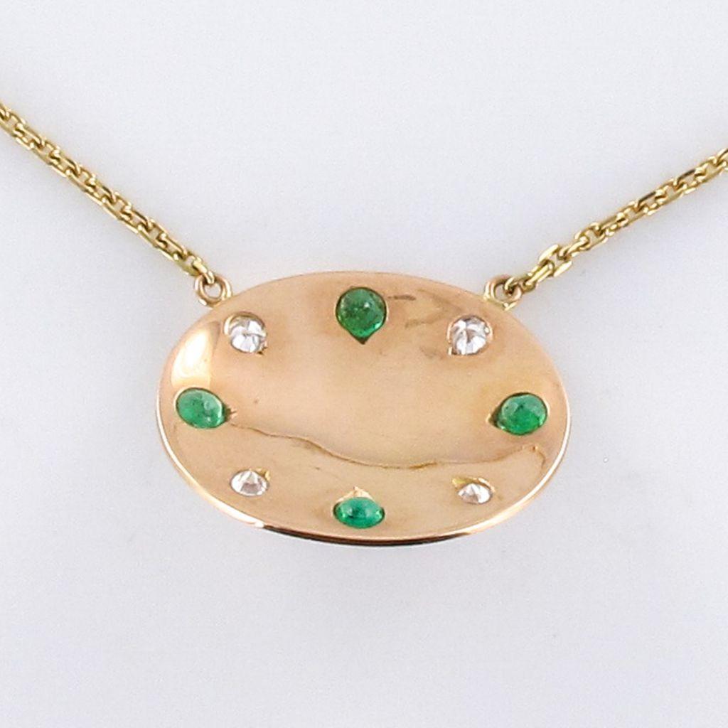 Collier opale émeraudes diamants