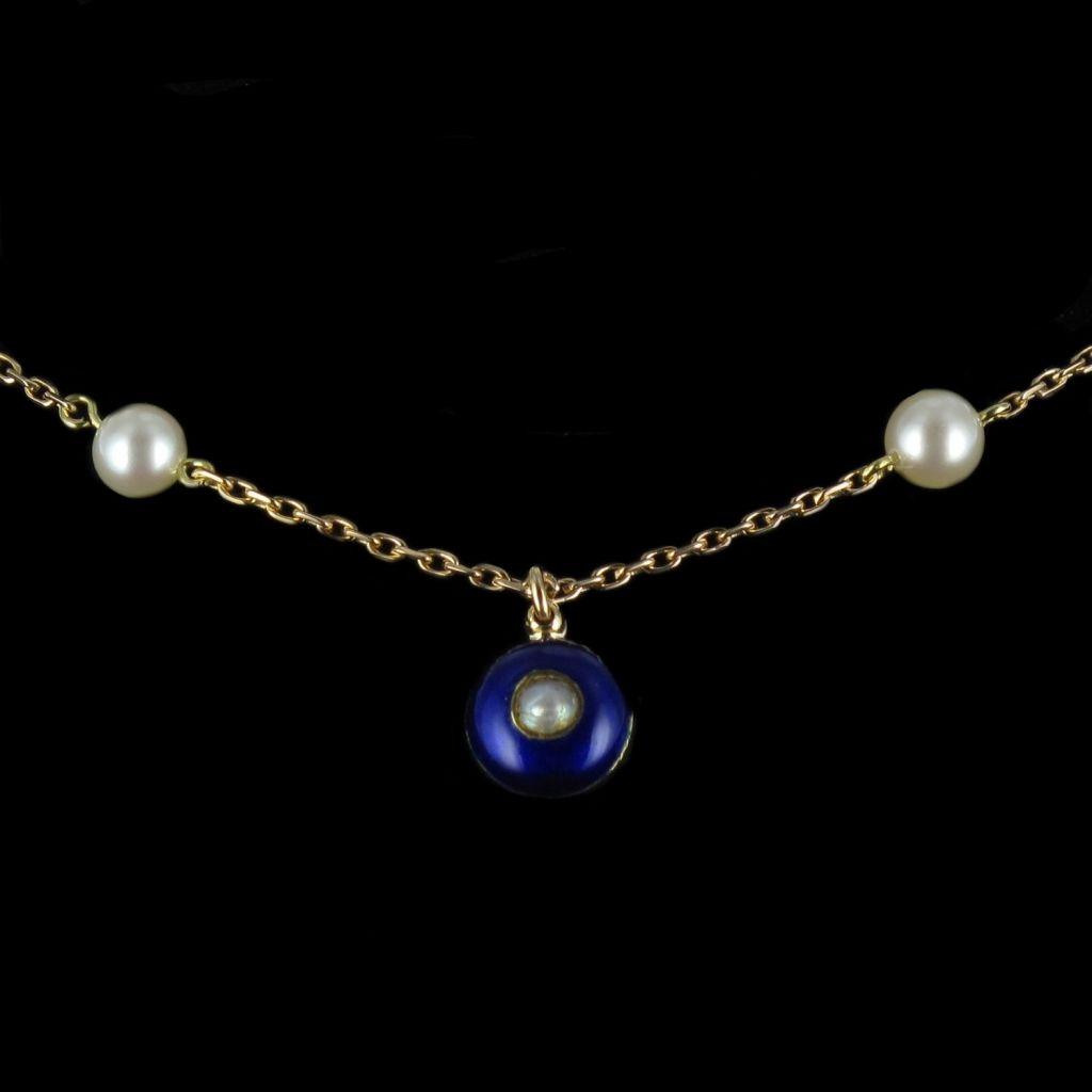 Collier Or, Perles de culture et de Lapis lazuli