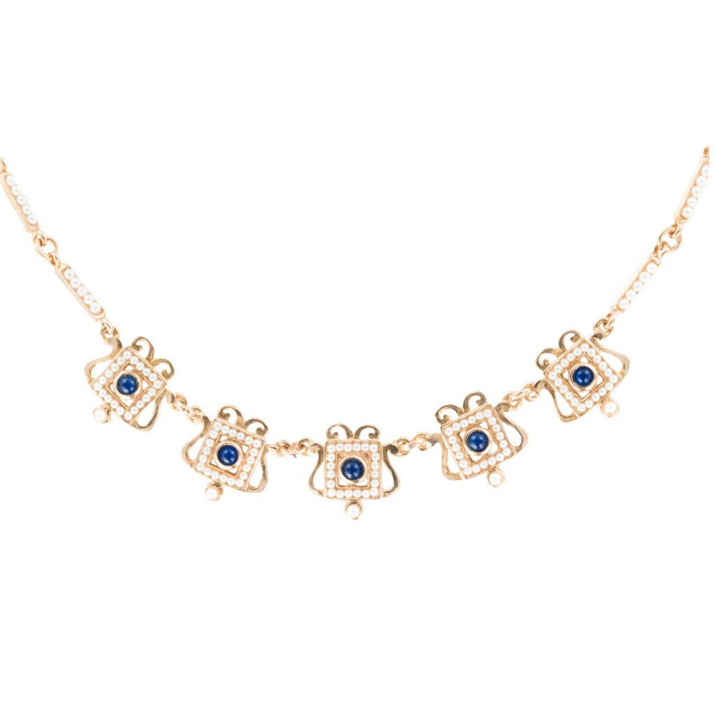 collier or rose argent perles verre et lapis lazulli bijouxbaume. Black Bedroom Furniture Sets. Home Design Ideas