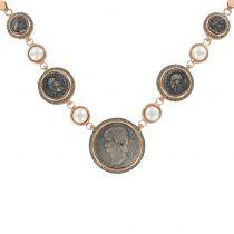Collier or rose argent perles de verre et lapis lazuli