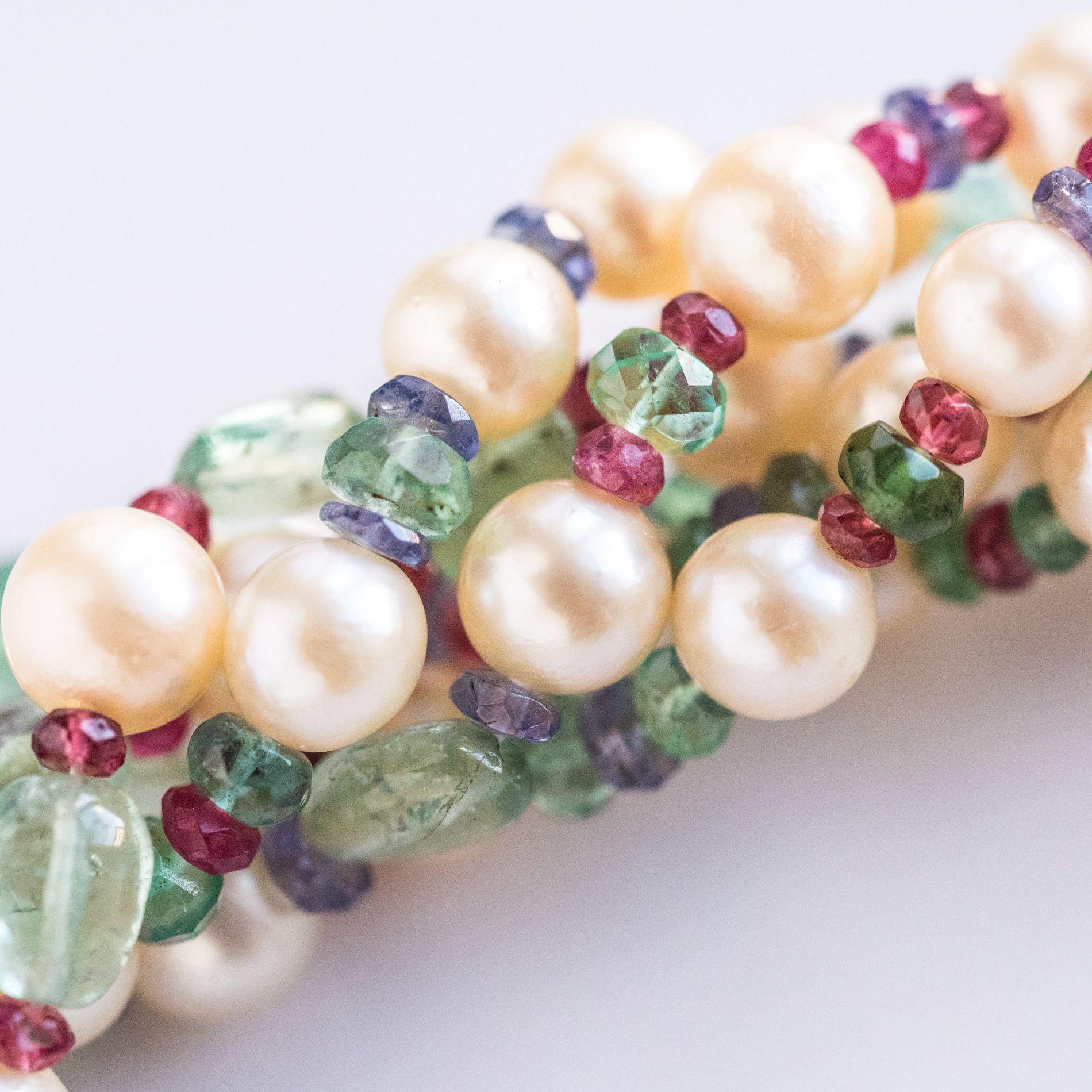 Collier Perles, Emeraudes, Saphirs, Rubis et Spinelles