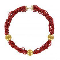 Collier perles de corail et perles d\'or ciselés