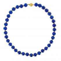 Collier perles de lapis lazuli et disques d\'or
