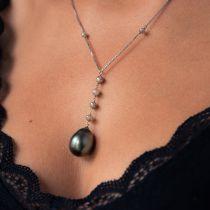 Collier perles de Tahiti et perles de diamant