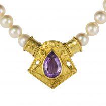Collier perles et motif or améthyste
