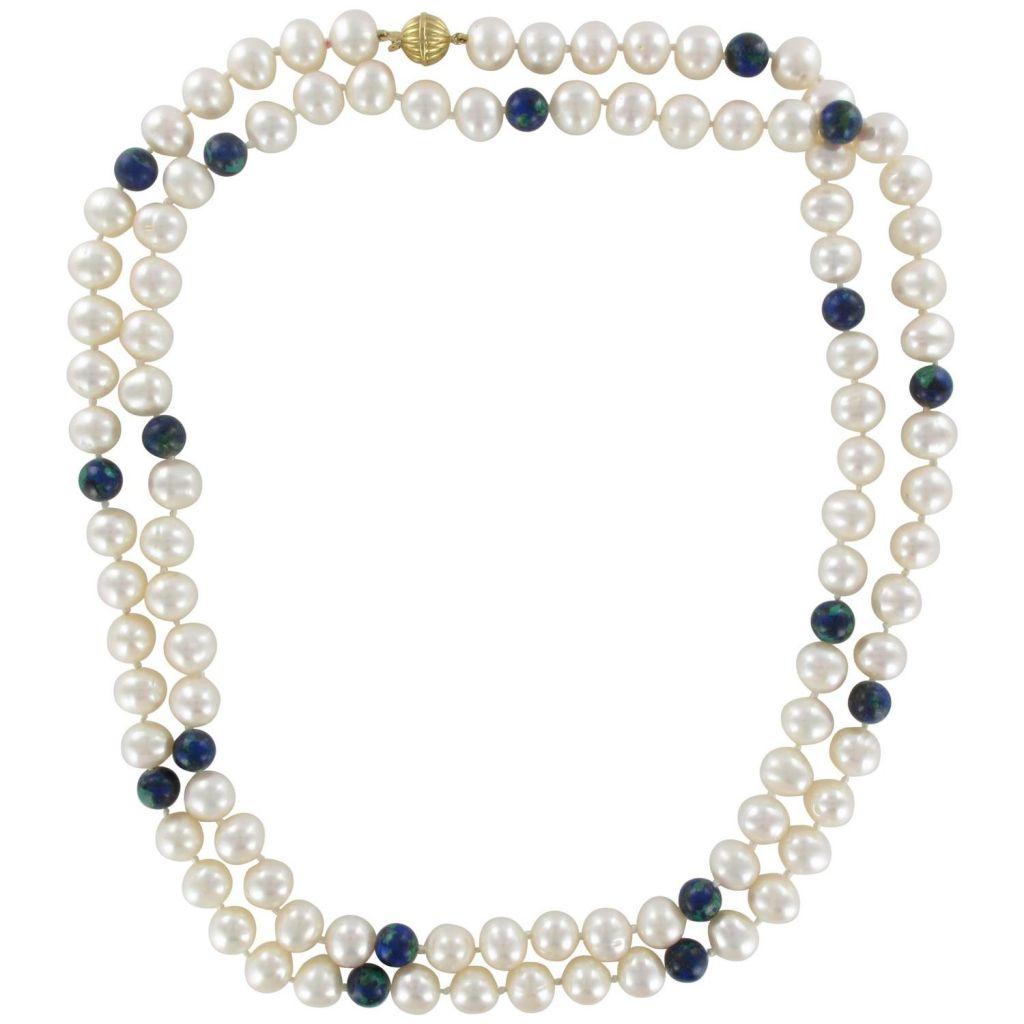 Collier Perles et Perles d\'Azurite