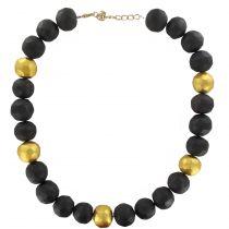 Collier perles facettées en ébène et feuilles d\'or
