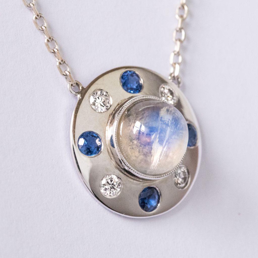 Collier pierre de lune saphirs diamants