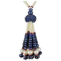 Collier pompon perles de saphirs, de culture et de rubélites