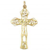 Croix ancienne or jaune à décor floral
