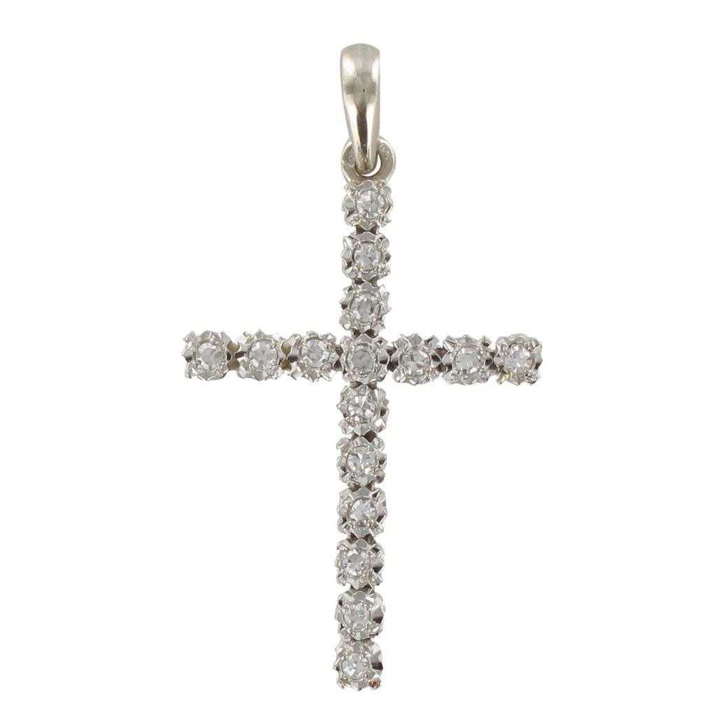 Croix Diamants Or blanc