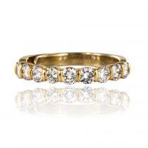 Demi Alliance diamants sur or jaune