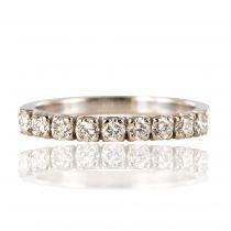 Demi alliance or blanc diamants
