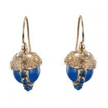 Dormeuse italiennes perles bleues et décor ciselé