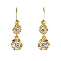 Dormeuses anciennes diamants or jaune