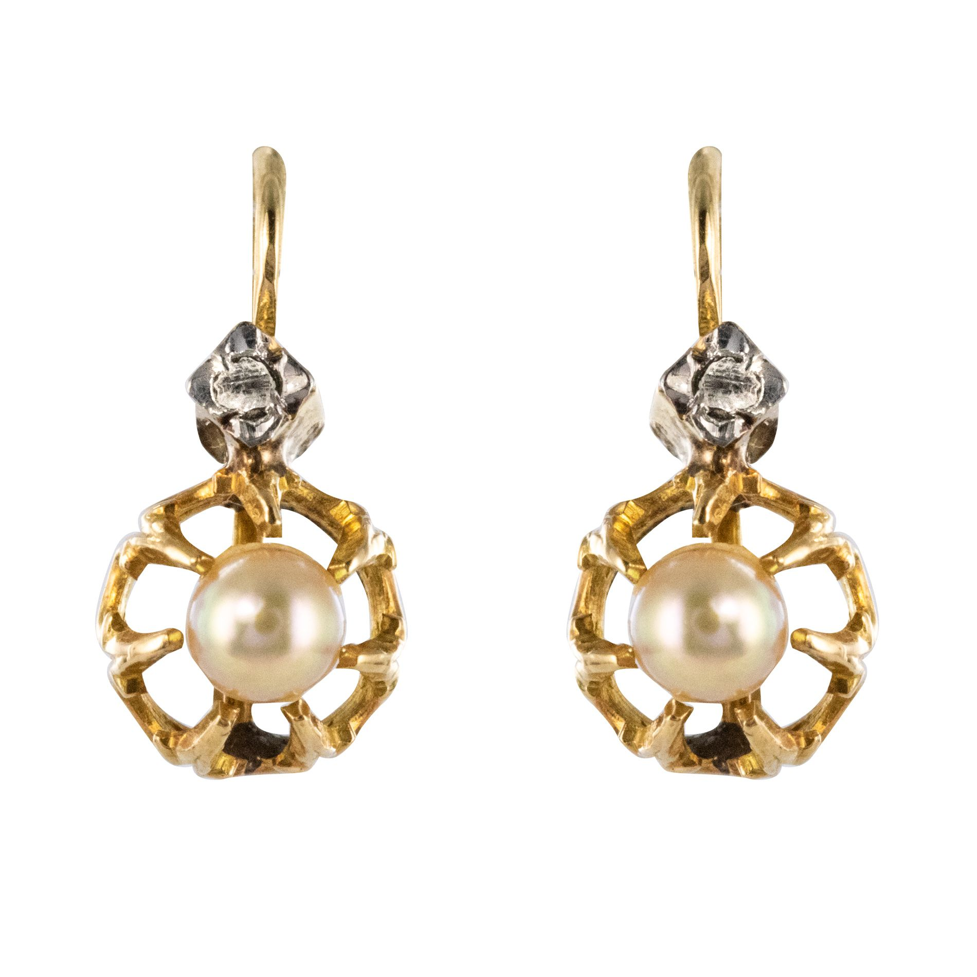 Dormeuses anciennes perles diamants