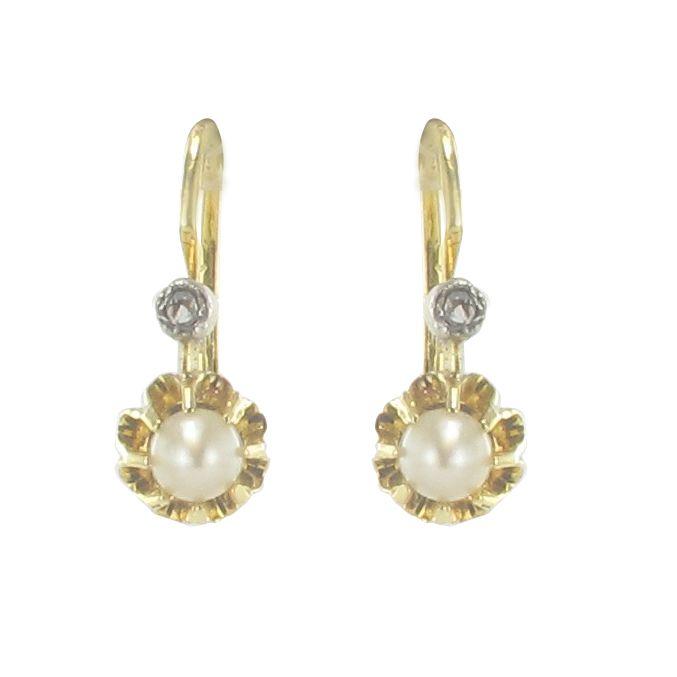Dormeuses anciennes perles et diamants