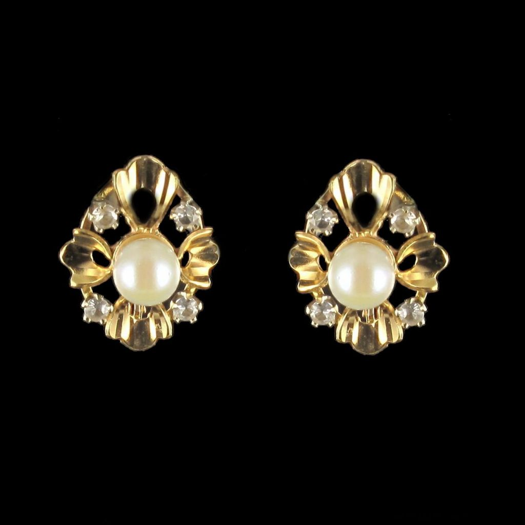 Dormeuses perle et diamants