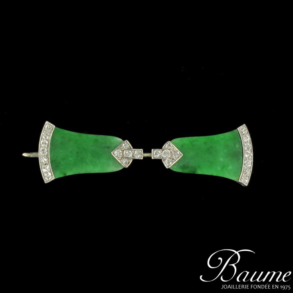 Epingle de jabot Art déco, jade et diamants