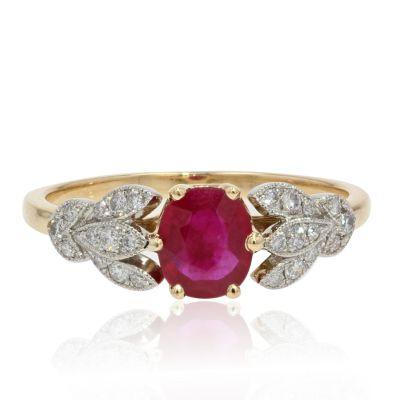 Fine bague rubis et diamants