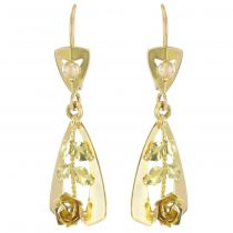 French 1960s 18 Carat Yellow Gold Retro Roses Drop Earrings