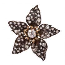 French Antique 19th Century Diamond Silver Gold Flower Pendant