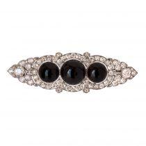 French Art Deco Onyx Diamond Platinum Brooch