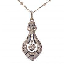 French Art Deco Pearl Sapphire Diamond Platinum Pendant