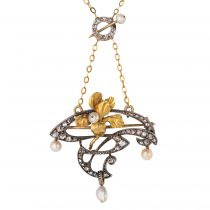 French Art Nouveau Fine Pearl Diamond Silver Gold Pendant Brooch