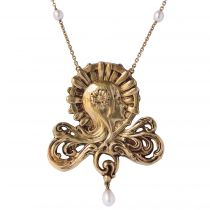 French Art Nouveau Pearl Gold Necklace Featuring a Woman\'s Head