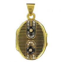 Gold Medallion enamel Diamonds Yellow Gold 18K