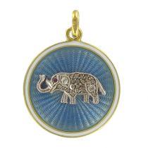 Médaille ancienne éléphant émail et diamants