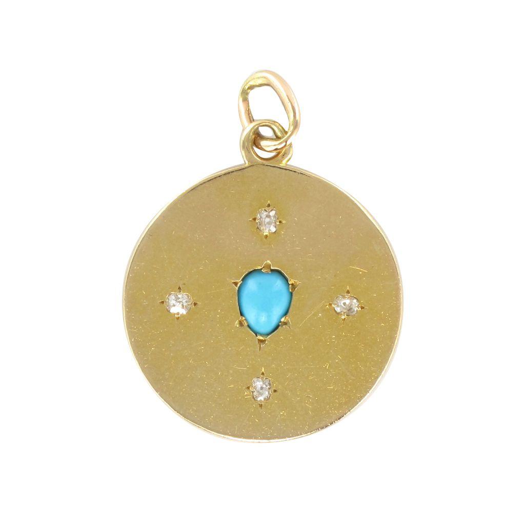 Médaille ancienne fleur de lys turquoise diamant